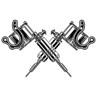 Machines à tatouer croisées sur fond blanc. élément pour affiche, emblème, signe, insigne. illustration