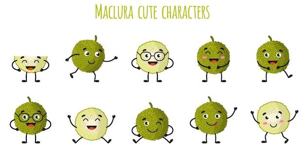 Maclura fruits mignons personnages gais drôles avec différentes poses et émotions