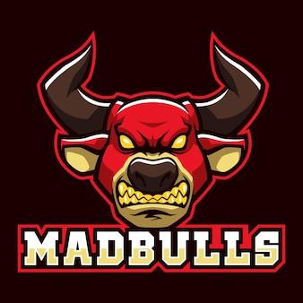 Mad bulls signent et vecteur de logo de symbole