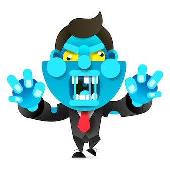 Mad zombie court après la victime