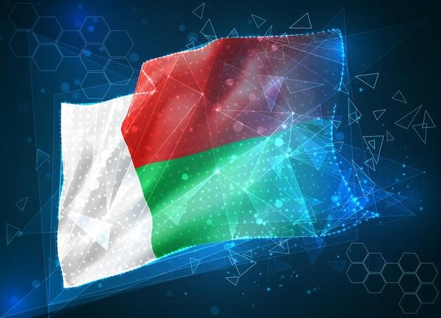 Madagascar, drapeau vectoriel, objet 3d abstrait virtuel à partir de polygones triangulaires sur fond bleu