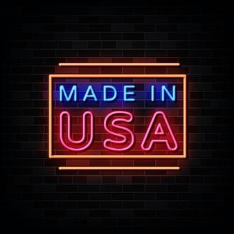 Made in usa en néon. enseigne au néon de modèle de conception