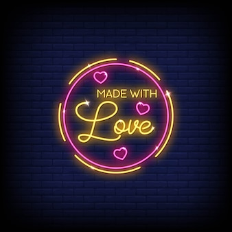Made with love neon signs style texte vecteur