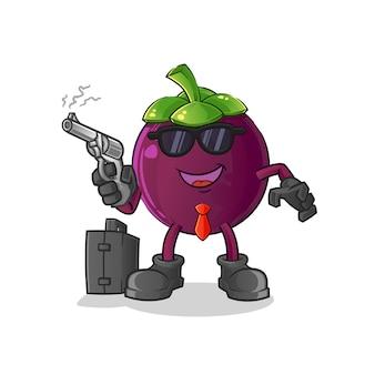Mafia au mangoustan avec personnage de pistolet.
