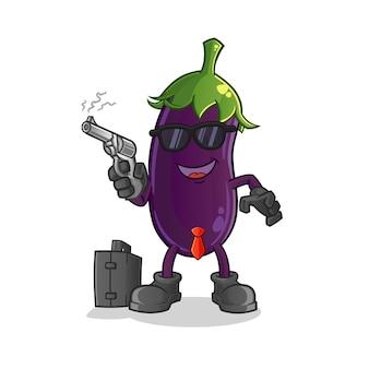 Mafia d'aubergine avec personnage de pistolet.