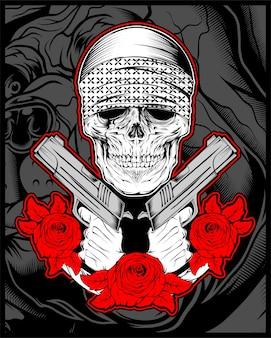 Mafia crâne, gengster portant un bandana avec un pistolet et des roses