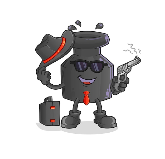 La mafia à l'encre avec un caractère d'armes à feu. mascotte de dessin animé