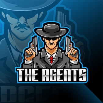 Mafia esport mascotte logo design de jeu