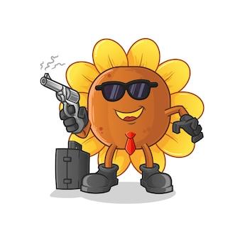 Mafia de fleur de soleil avec personnage de pistolet