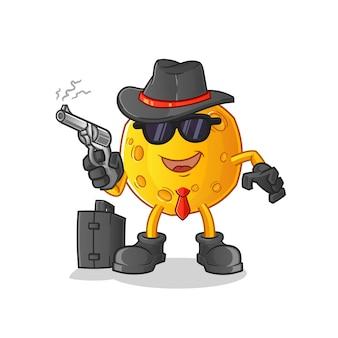 Mafia lunaire avec personnage de pistolet