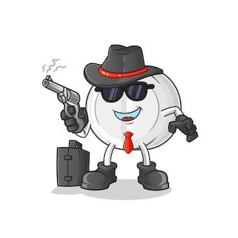 Mafia de médecine avec personnage de pistolet