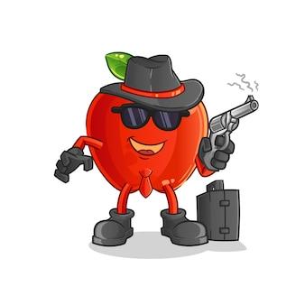 Mafia de pomme rouge avec mascotte de personnage de pistolet