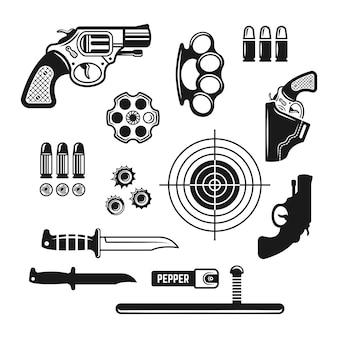 Magasin d'armes, club de tir ou ensemble de gamme d'éléments de conception monochrome de vecteur isolé sur blanc
