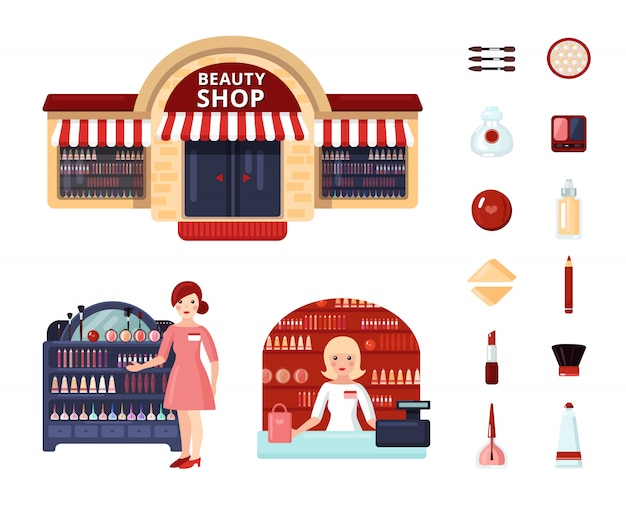 Magasin de beauté icon set