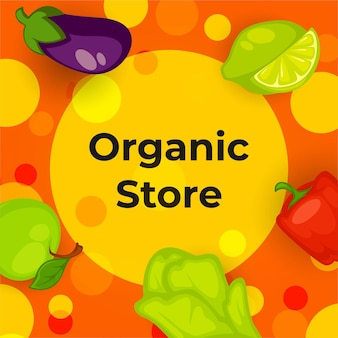 Magasin bio avec vecteur de légumes et de fruits
