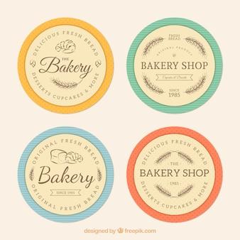Magasin de boulangerie badges, style rétro