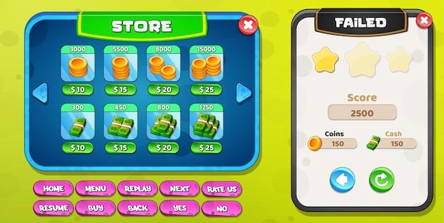 Le magasin ou la boutique et le niveau ont échoué avec des boutons, des pièces de monnaie et de l'argent
