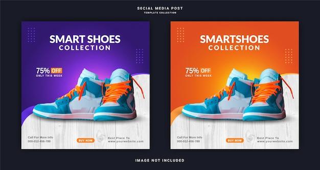 Magasin de chaussures en ligne instagram banner ad modèle de publication sur les médias sociaux