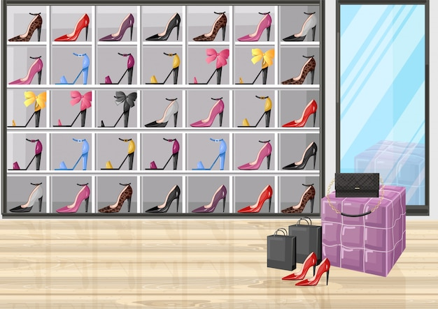 Magasin de chaussures porte illustration de style plat