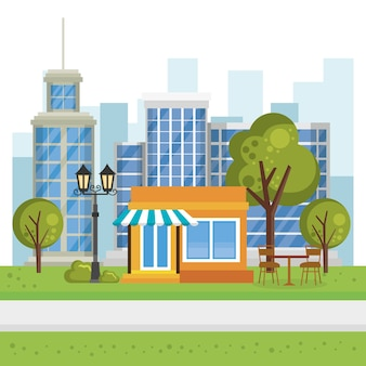 Magasin de construction avec scène de paysage urbain