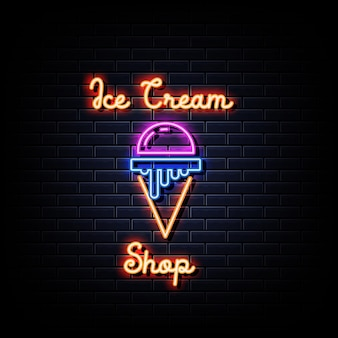 Magasin de crème glacée en néon sur mur noir