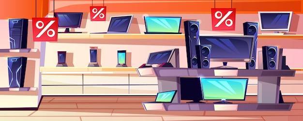 Magasin d'électronique, illustration de l'intérieur d'un magasin d'appareils de consommation dans un centre commercial.
