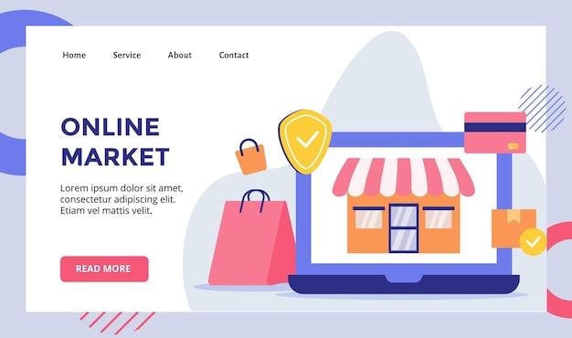 Magasin de façade de marché en ligne sur le modèle de page de destination pour ordinateur portable de moniteur d'affichage