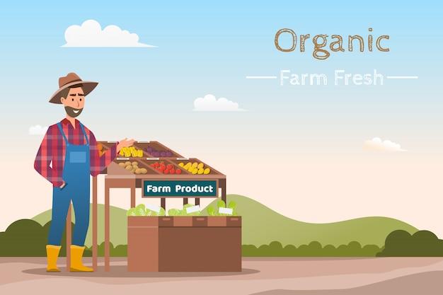 Magasin de la ferme. marché local. vente de fruits et légumes