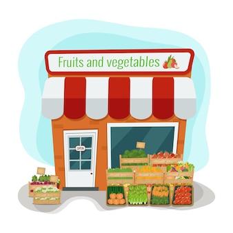 Magasin de fruits et légumes. plat.