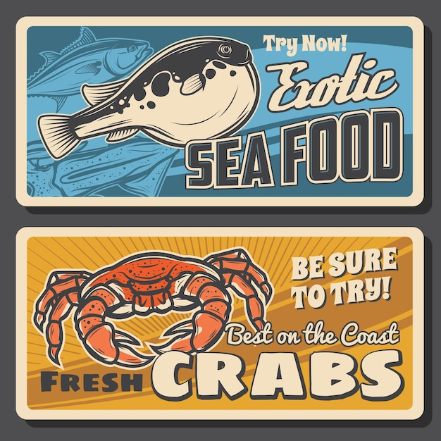 Magasin de fruits de mer de poissons et crabes fugu