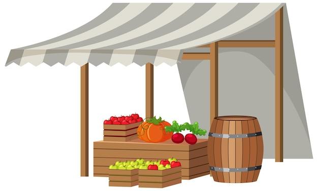 Magasin de fruits avec toit en toile rayée