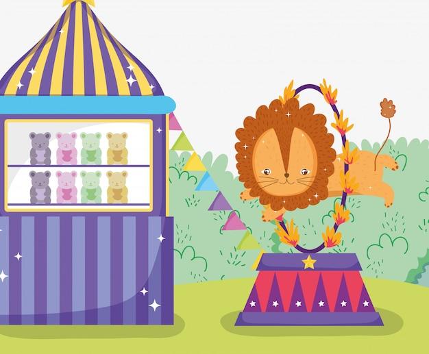 Magasin de jouets et lion sautant le cerceau de feu