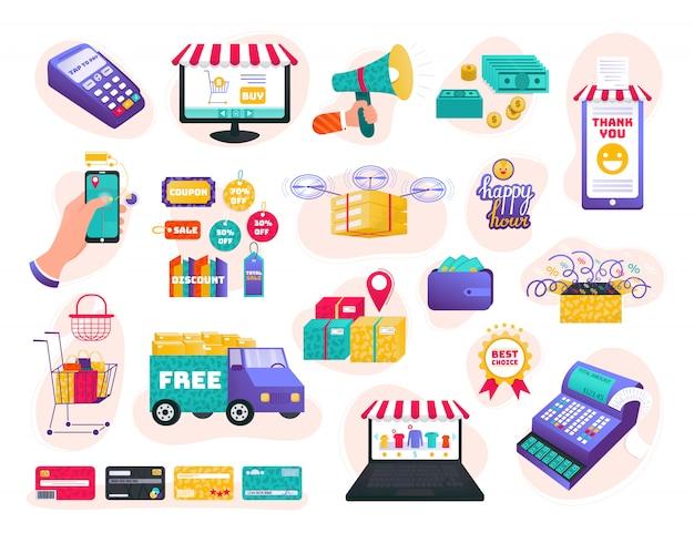 Magasin en ligne, jeu d'illustration de commerce électronique, dessin animé main humaine achetant des produits, icônes pour magasin d'interface web sur blanc