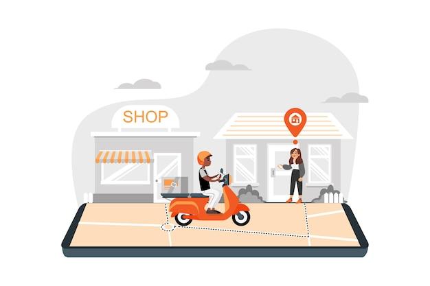 Magasin de livraison à domicile avec transport moto sur mobile