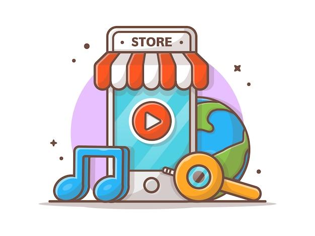 Magasin de musique en ligne. boutique de musique mobile avec l'icône de l'icône icône illustration. cloud music store blanc isolé