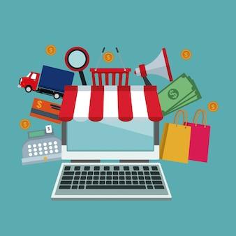 Magasin d'ordinateur portable et icônes d'éléments achats en ligne