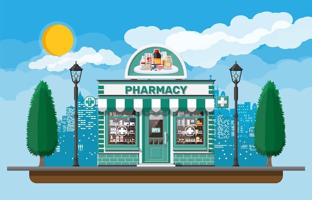 Magasin de pharmacie de façade avec enseigne. extérieur de la pharmacie. capsules de pilules de médecine bouteilles de vitamines et de comprimés sur vitrine. bâtiment de magasin de devanture, paysage urbain de nature. illustration vectorielle plane