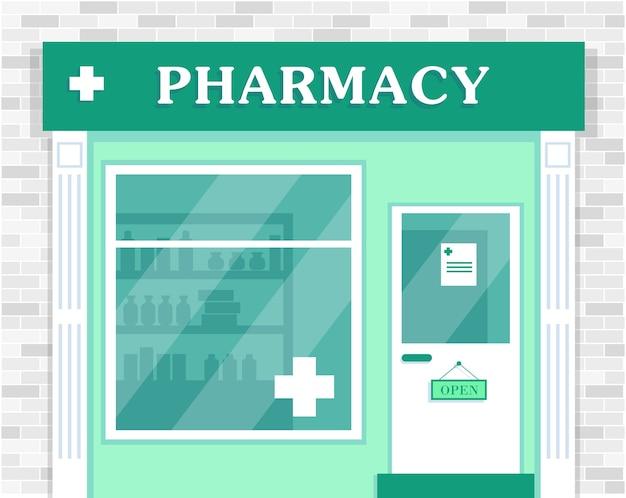 Magasin de pharmacie façade extérieure du bâtiment de la pharmacie