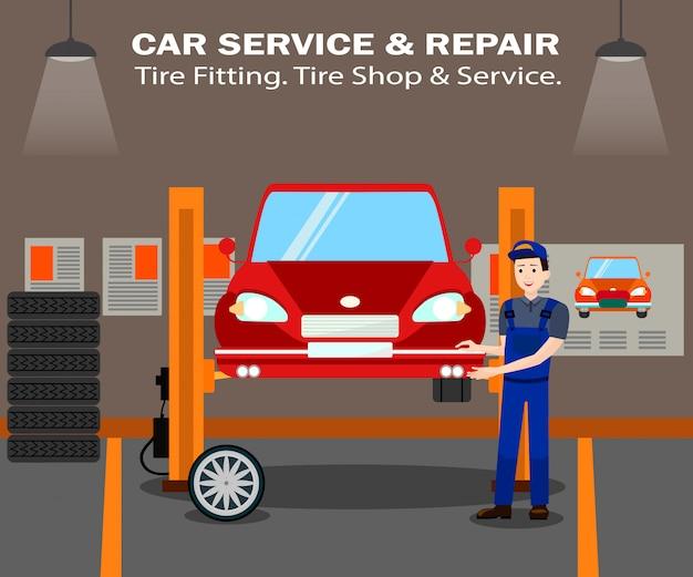 Magasin de pneus et modèle de bannière de vecteur de service plat