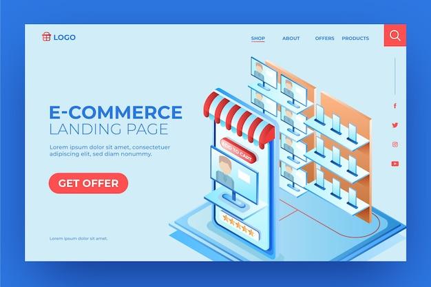 Magasin de technologie de page de destination de commerce électronique isométrique