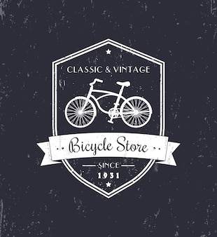 Magasin de vélos, design grunge vintage, blanc sur noir, illustration