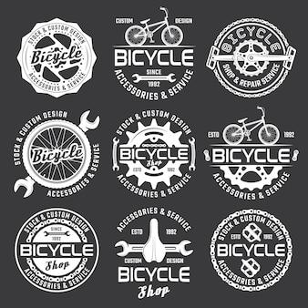 Magasin de vélos ou service de réparation de vélos ensemble de badges blancs de vecteur