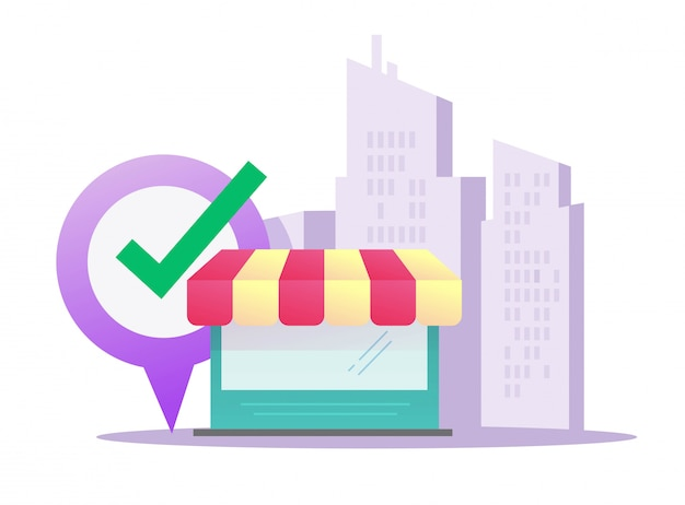 Magasin de vente au détail vecteur plat dessin animé bâtiment sur l'emplacement de la ville