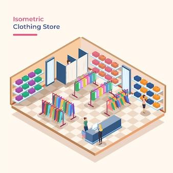 Magasin de vêtements isométriques