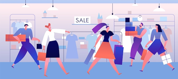 Magasin de vêtements. shopping gens avec des boîtes et des sacs à l'intérieur de la mode, boutique. concept de vecteur de grande vente de vêtements à la mode
