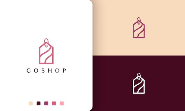Magasinez le logo de l'étiquette dans un style simple et moderne