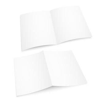 Magazine blanc ouvert blanc réaliste. album papier ou livre