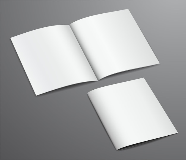 Magazine de brochure fermé et ouvert blanc vierge, isolé sur fond sombre