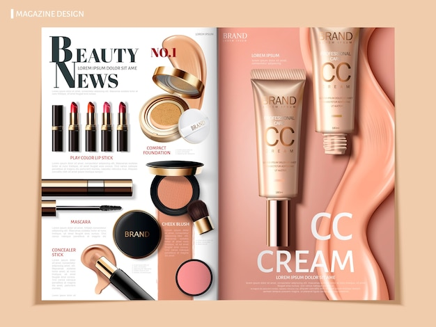 Magazine ou catalogue de cosmétiques de couleur crémeuse à usage commercial