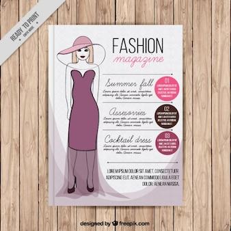Magazine de mode de couverture avec un modèle